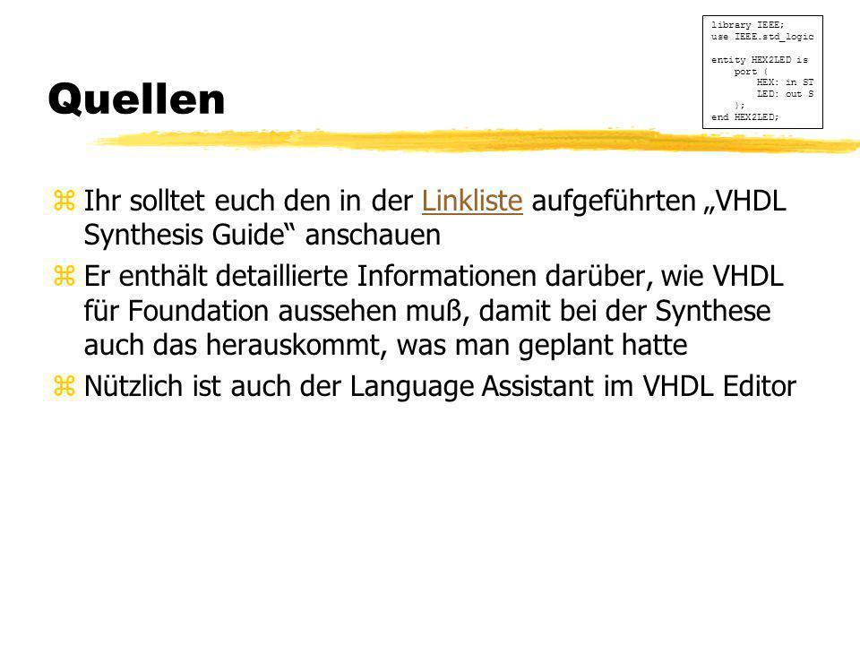 """Quellen zIhr solltet euch den in der Linkliste aufgeführten """"VHDL Synthesis Guide"""" anschauenLinkliste zEr enthält detaillierte Informationen darüber,"""