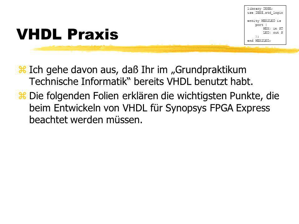 """VHDL Praxis zIch gehe davon aus, daß Ihr im """"Grundpraktikum Technische Informatik"""" bereits VHDL benutzt habt. zDie folgenden Folien erklären die wicht"""