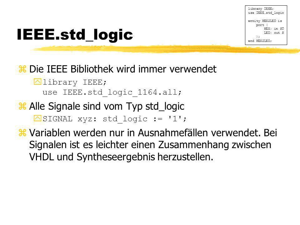 IEEE.std_logic  Die IEEE Bibliothek wird immer verwendet ylibrary IEEE; use IEEE.std_logic_1164.all; zAlle Signale sind vom Typ std_logic ySIGNAL xyz