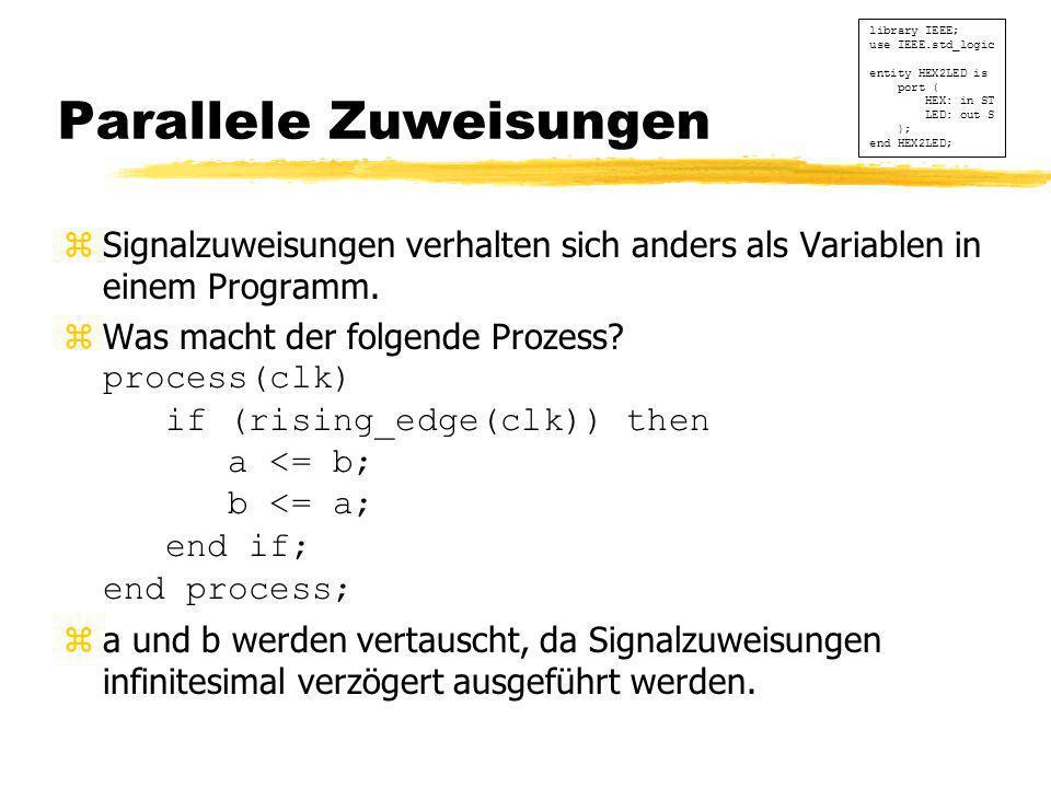 Parallele Zuweisungen zSignalzuweisungen verhalten sich anders als Variablen in einem Programm.  Was macht der folgende Prozess? process(clk) if (ris