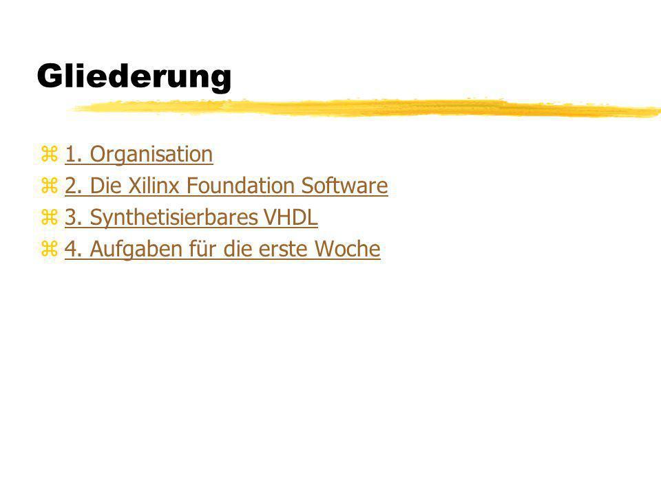 Gliederung z1. Organisation1. Organisation z2. Die Xilinx Foundation Software2. Die Xilinx Foundation Software z3. Synthetisierbares VHDL3. Synthetisi