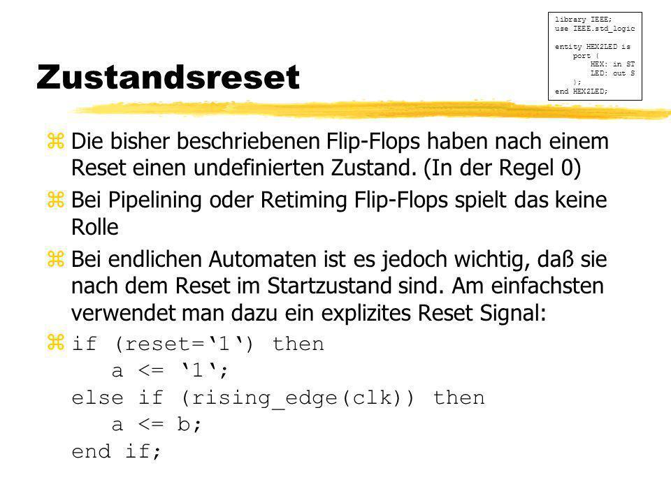 Zustandsreset zDie bisher beschriebenen Flip-Flops haben nach einem Reset einen undefinierten Zustand. (In der Regel 0) zBei Pipelining oder Retiming