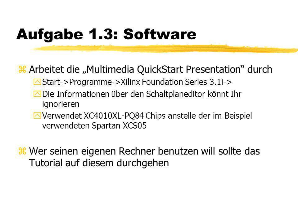 """Aufgabe 1.3: Software zArbeitet die """"Multimedia QuickStart Presentation"""" durch yStart->Programme->Xilinx Foundation Series 3.1i-> yDie Informationen ü"""