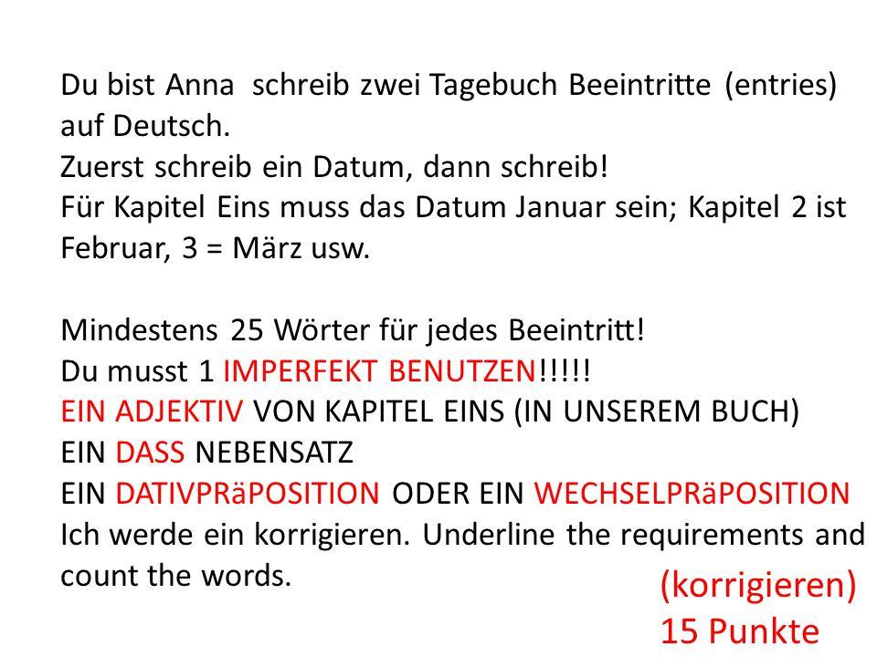 Du bist Anna schreib zwei Tagebuch Beeintritte (entries) auf Deutsch.