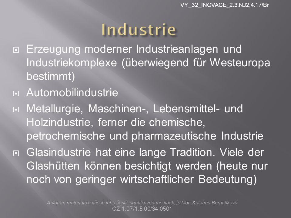  Erzeugung moderner Industrieanlagen und Industriekomplexe (überwiegend für Westeuropa bestimmt)  Automobilindustrie  Metallurgie, Maschinen-, Lebensmittel- und Holzindustrie, ferner die chemische, petrochemische und pharmazeutische Industrie  Glasindustrie hat eine lange Tradition.