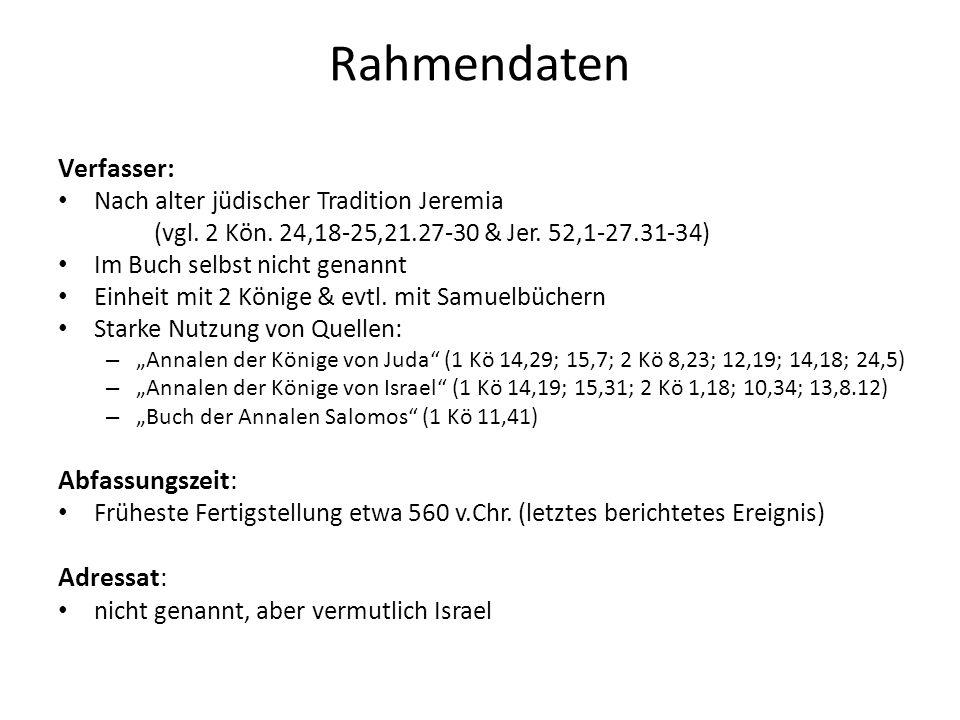 Rahmendaten Verfasser: Nach alter jüdischer Tradition Jeremia (vgl. 2 Kön. 24,18-25,21.27-30 & Jer. 52,1-27.31-34) Im Buch selbst nicht genannt Einhei