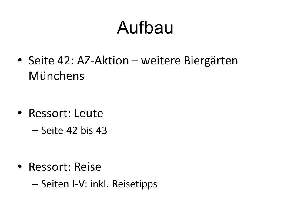 Aufbau Seite 42: AZ-Aktion – weitere Biergärten Münchens Ressort: Leute – Seite 42 bis 43 Ressort: Reise – Seiten I-V: inkl.