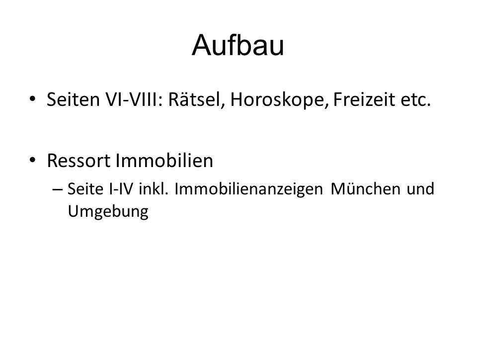 Aufbau Seiten VI-VIII: Rätsel, Horoskope, Freizeit etc.