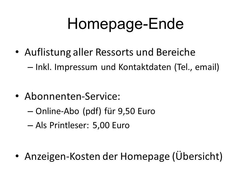 Homepage-Ende Auflistung aller Ressorts und Bereiche – Inkl.