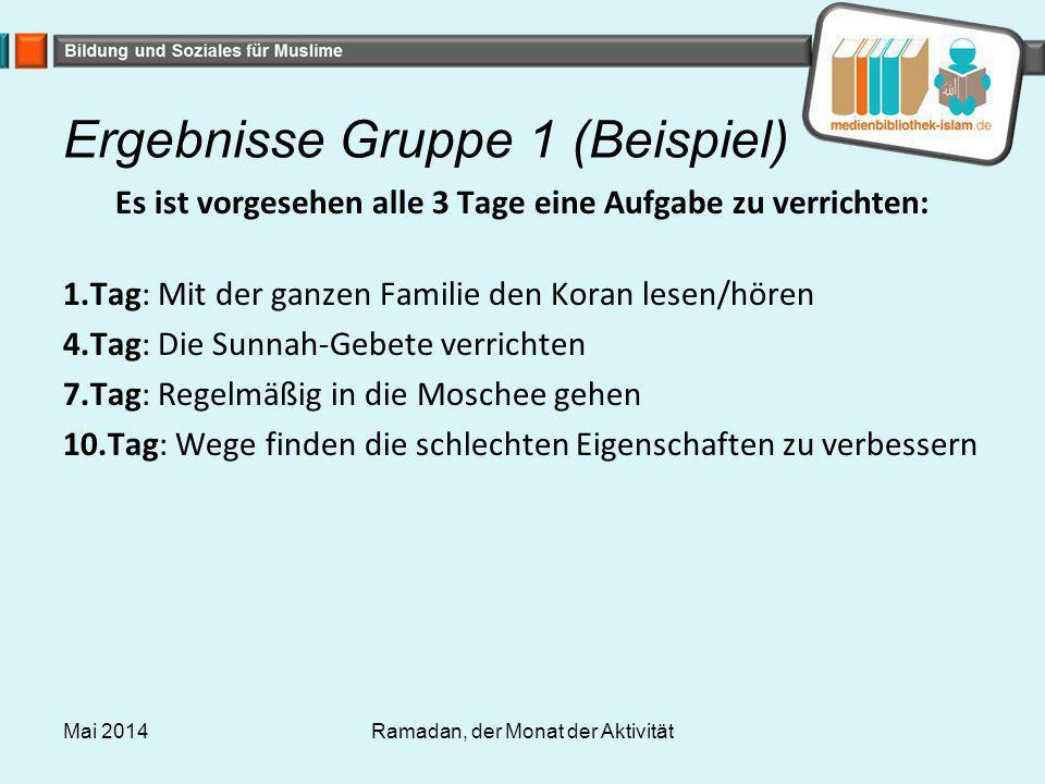 Ergebnisse Gruppe 1 (Beispiel) Es ist vorgesehen alle 3 Tage eine Aufgabe zu verrichten: 1.Tag: Mit der ganzen Familie den Koran lesen/hören 4.Tag: Di