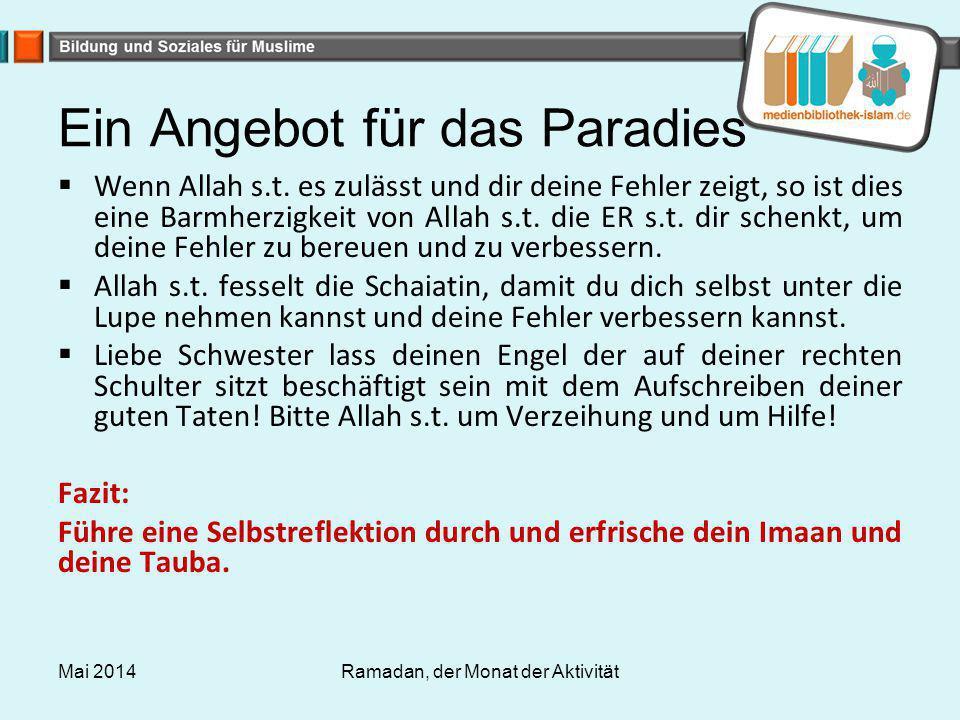 Ein Angebot für das Paradies  Wenn Allah s.t. es zulässt und dir deine Fehler zeigt, so ist dies eine Barmherzigkeit von Allah s.t. die ER s.t. dir s
