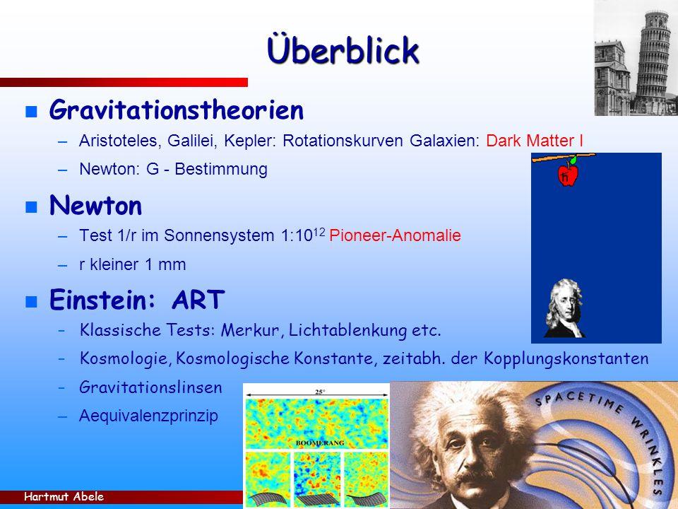 Hartmut Abele 25 Überblick n Gravitationstheorien –Aristoteles, Galilei, Kepler: Rotationskurven Galaxien: Dark Matter I –Newton: G - Bestimmung n Newton –Test 1/r im Sonnensystem 1:10 12 Pioneer-Anomalie –r kleiner 1 mm n Einstein: ART –Klassische Tests: Merkur, Lichtablenkung etc.