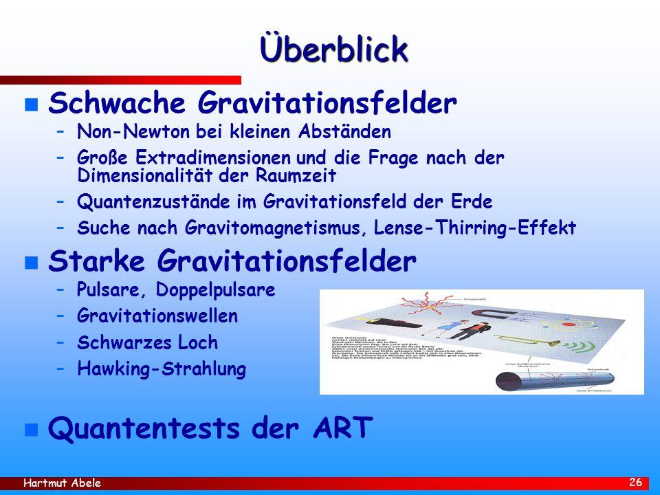 Hartmut Abele 26 Überblick n Schwache Gravitationsfelder –Non-Newton bei kleinen Abständen –Große Extradimensionen und die Frage nach der Dimensionali