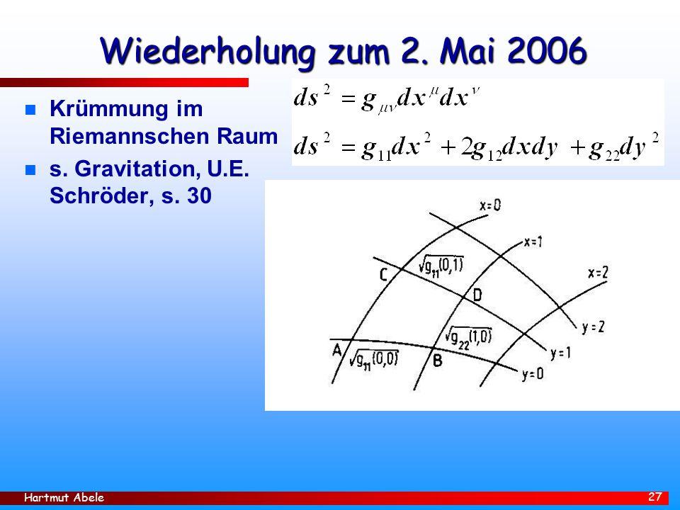 Hartmut Abele 27 Wiederholung zum 2.Mai 2006 n Krümmung im Riemannschen Raum n s.