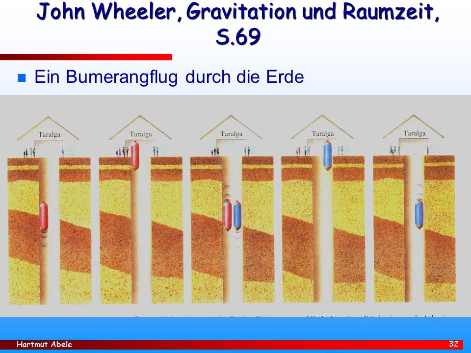 Hartmut Abele 32 John Wheeler, Gravitation und Raumzeit, S.69 n Ein Bumerangflug durch die Erde