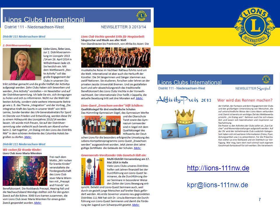 Lions Clubs International 7 http://lions-111nw.de kpr@lions-111nw.de
