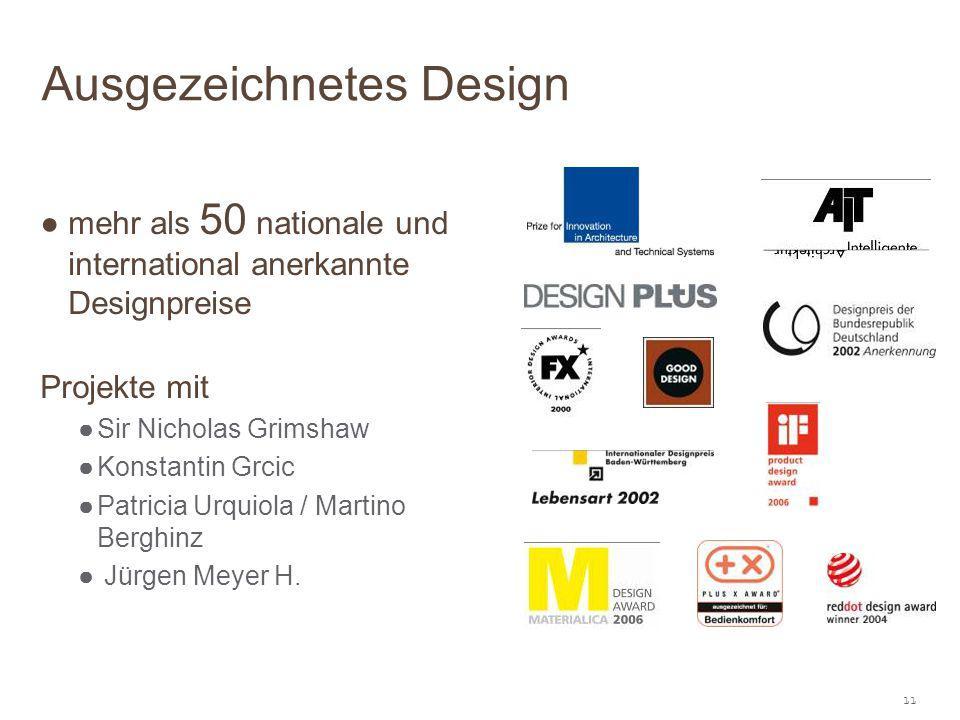11 ● mehr als 50 nationale und international anerkannte Designpreise Projekte mit ●Sir Nicholas Grimshaw ●Konstantin Grcic ●Patricia Urquiola / Martin