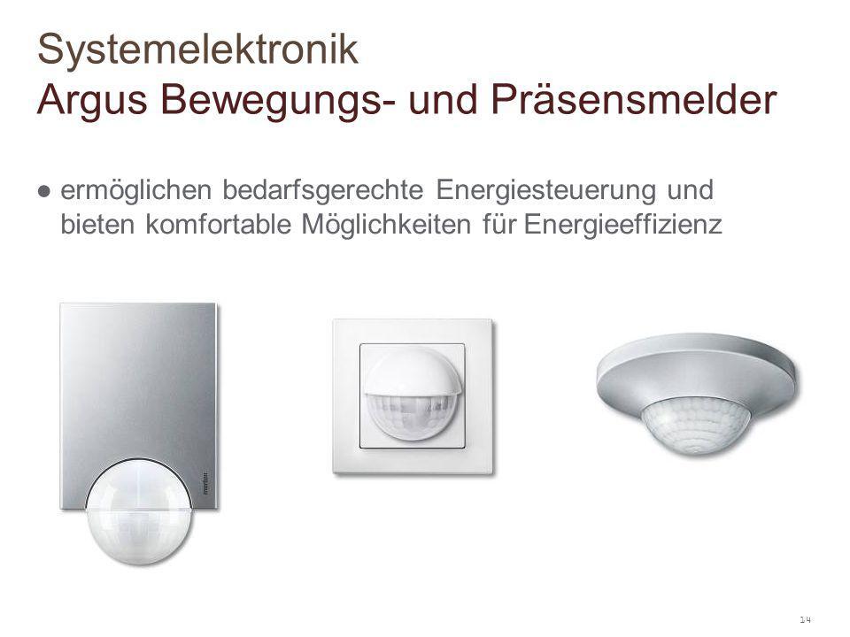 14 ● ermöglichen bedarfsgerechte Energiesteuerung und bieten komfortable Möglichkeiten für Energieeffizienz Systemelektronik Argus Bewegungs- und Präs