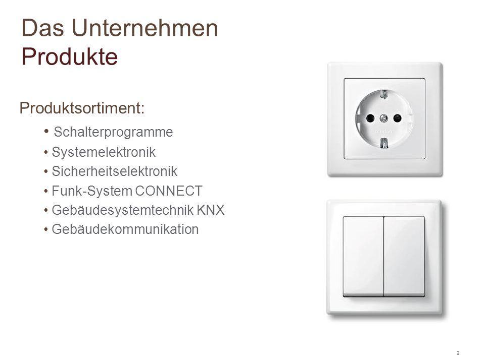 3 Produktsortiment: Schalterprogramme Systemelektronik Sicherheitselektronik Funk-System CONNECT Gebäudesystemtechnik KNX Gebäudekommunikation Das Unt