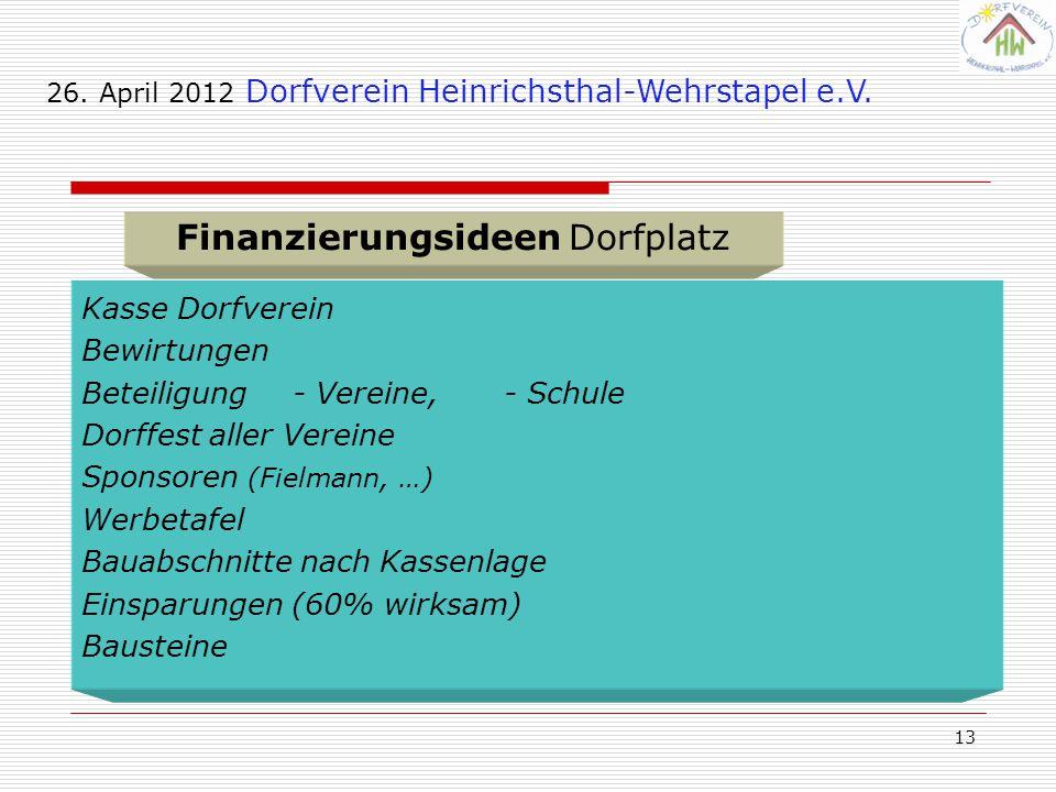 13 26.April 2012 Dorfverein Heinrichsthal-Wehrstapel e.V.