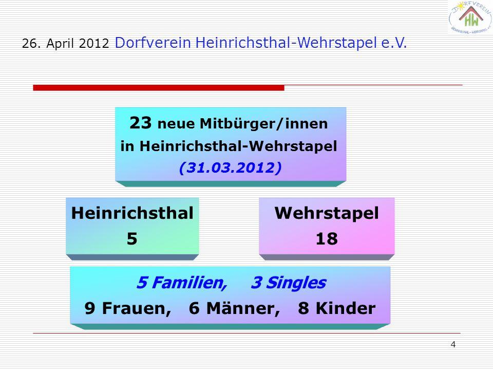 4 23 neue Mitbürger/innen in Heinrichsthal-Wehrstapel (31.03.2012) Wehrstapel 18 Heinrichsthal 5 26. April 2012 Dorfverein Heinrichsthal-Wehrstapel e.