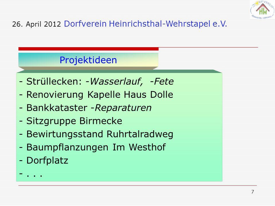 7 - Strüllecken: -Wasserlauf, -Fete - Renovierung Kapelle Haus Dolle - Bankkataster -Reparaturen - Sitzgruppe Birmecke - Bewirtungsstand Ruhrtalradweg - Baumpflanzungen Im Westhof - Dorfplatz -...