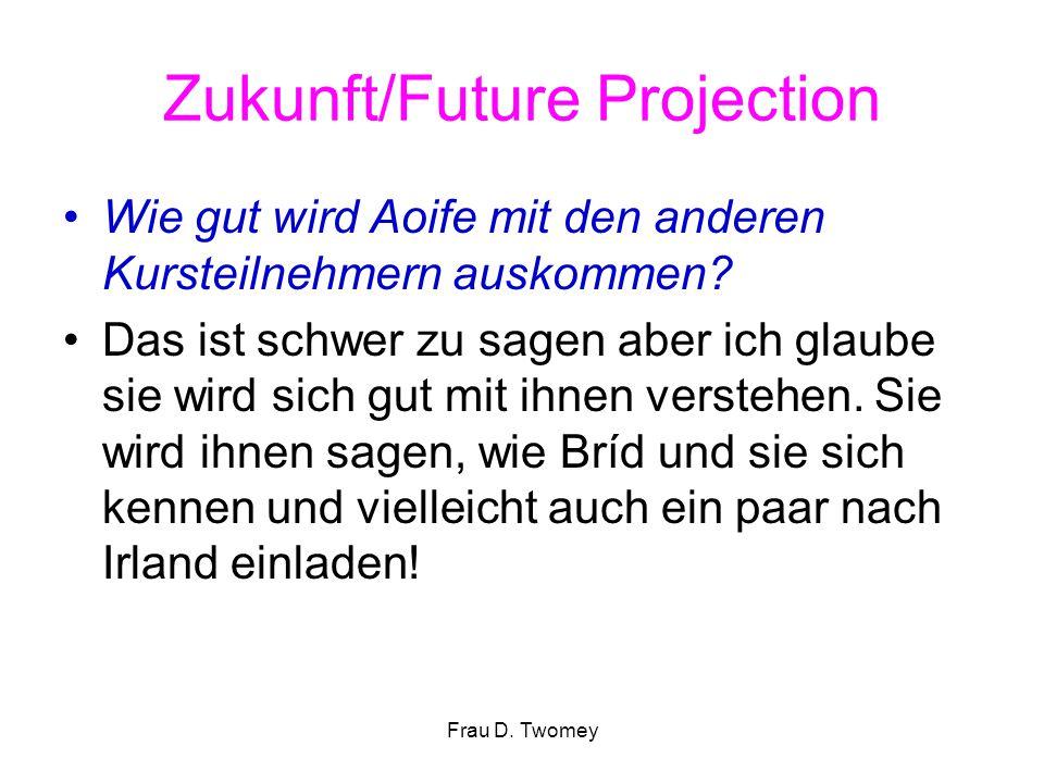 Zukunft/Future Projection Wie gut wird Aoife mit den anderen Kursteilnehmern auskommen? Das ist schwer zu sagen aber ich glaube sie wird sich gut mit