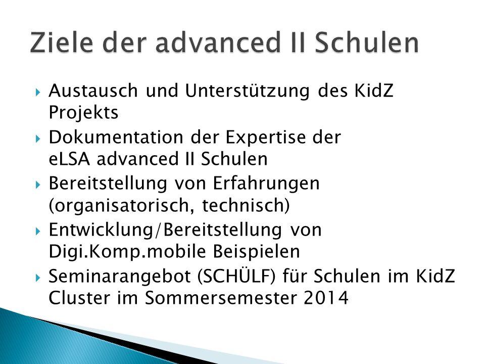  Austausch und Unterstützung des KidZ Projekts  Dokumentation der Expertise der eLSA advanced II Schulen  Bereitstellung von Erfahrungen (organisatorisch, technisch)  Entwicklung/Bereitstellung von Digi.Komp.mobile Beispielen  Seminarangebot (SCHÜLF) für Schulen im KidZ Cluster im Sommersemester 2014