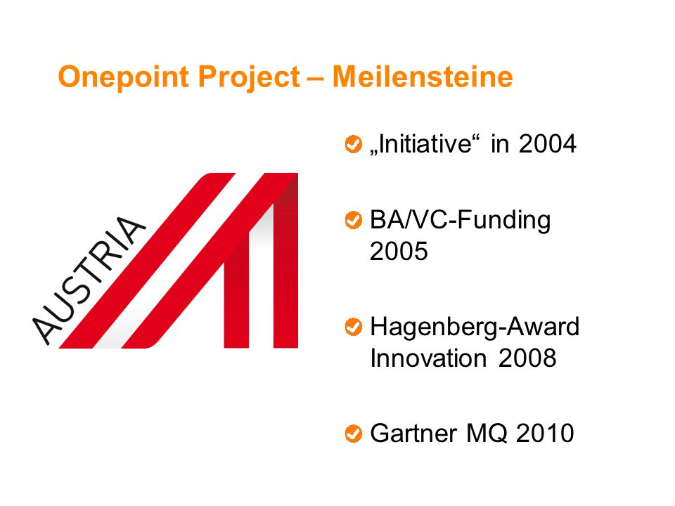 "Onepoint Project – Meilensteine ""Initiative in 2004 BA/VC-Funding 2005 Hagenberg-Award Innovation 2008 Gartner MQ 2010"