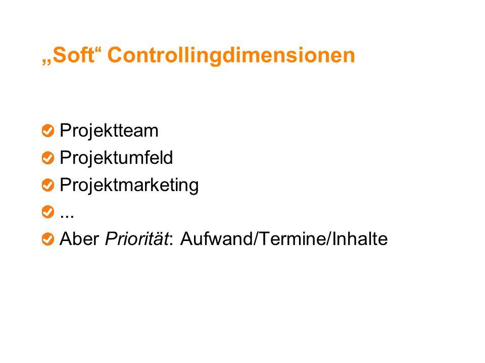 """""""Soft"""" Controllingdimensionen Projektteam Projektumfeld Projektmarketing... Aber Priorität: Aufwand/Termine/Inhalte"""