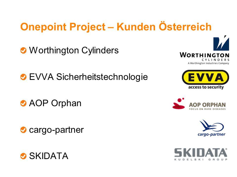 Onepoint Project – Kunden Österreich Worthington Cylinders EVVA Sicherheitstechnologie AOP Orphan cargo-partner SKIDATA