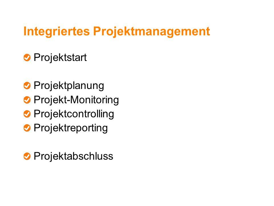 Integriertes Projektmanagement Projektstart Projektplanung Projekt-Monitoring Projektcontrolling Projektreporting Projektabschluss