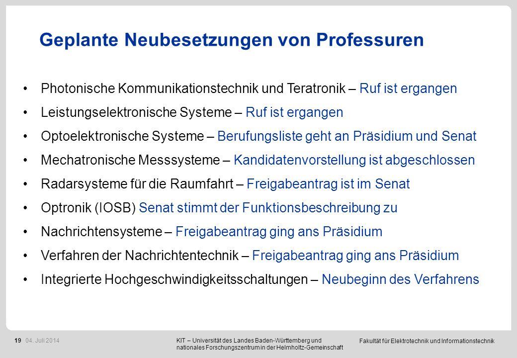 Fakultät für Elektrotechnik und Informationstechnik 19 Geplante Neubesetzungen von Professuren KIT – Universität des Landes Baden-Württemberg und nati