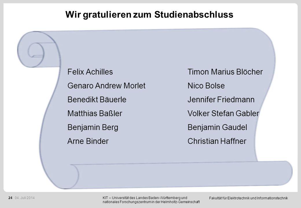Fakultät für Elektrotechnik und Informationstechnik 24 Wir gratulieren zum Studienabschluss Felix Achilles Genaro Andrew Morlet Benedikt Bäuerle Matth