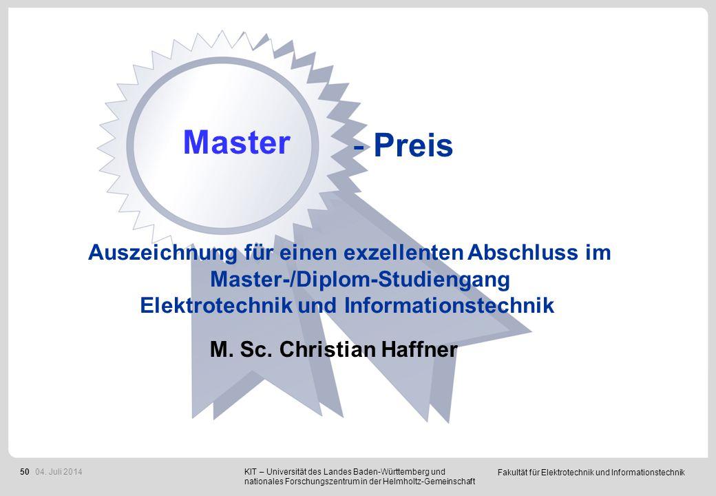 Fakultät für Elektrotechnik und Informationstechnik 50 - Preis Auszeichnung für einen exzellenten Abschluss im Master-/Diplom-Studiengang Elektrotechn