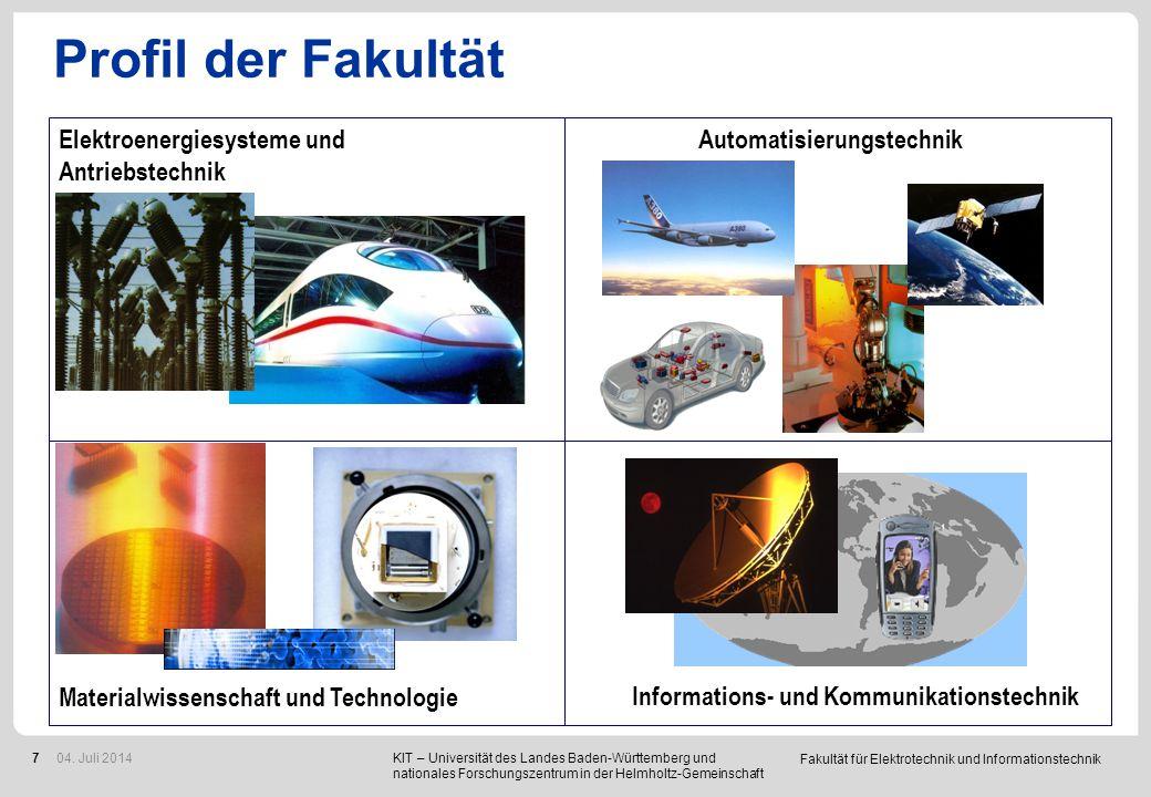 Fakultät für Elektrotechnik und Informationstechnik 7 Profil der Fakultät Automatisierungstechnik Informations- und Kommunikationstechnik Materialwiss