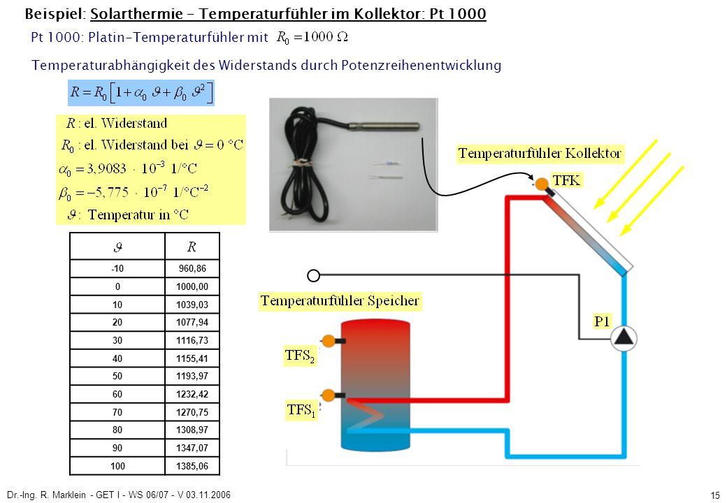 Dr.-Ing. R. Marklein - GET I - WS 06/07 - V 03.11.2006 15 Beispiel: Solarthermie – Temperaturfühler im Kollektor: Pt 1000 Temperaturabhängigkeit des W