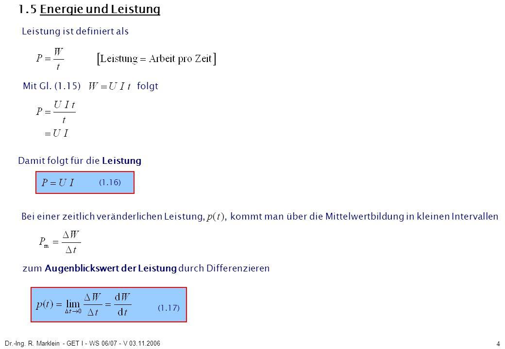 Dr.-Ing.R. Marklein - GET I - WS 06/07 - V 03.11.2006 25 2.1.3 Umlaufgleichung (2.