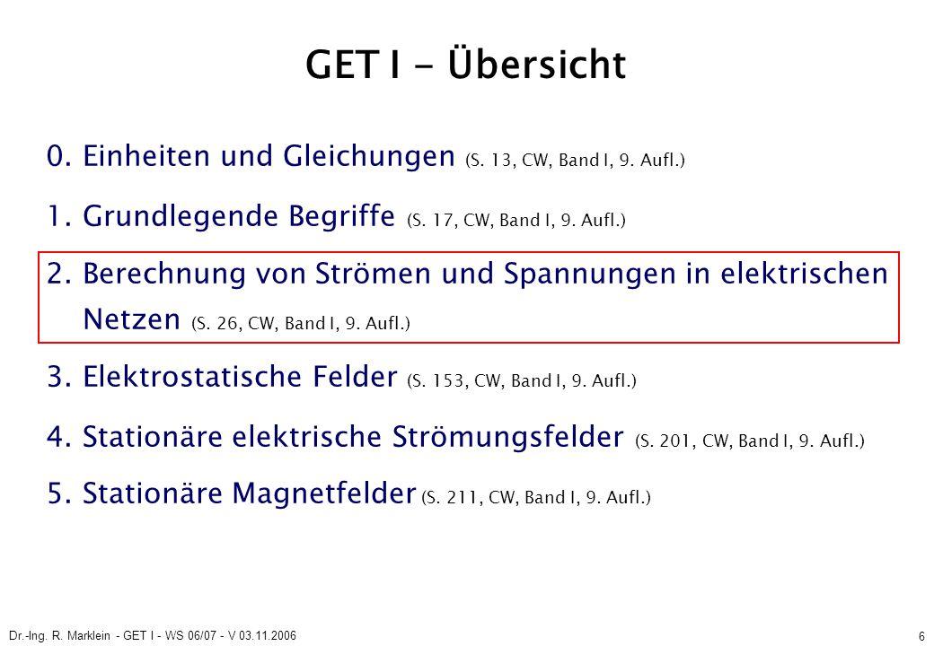 Dr.-Ing. R. Marklein - GET I - WS 06/07 - V 03.11.2006 6 GET I - Übersicht 0. Einheiten und Gleichungen (S. 13, CW, Band I, 9. Aufl.) 1. Grundlegende