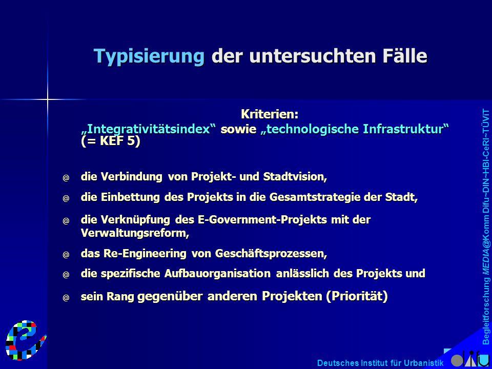 """Begleitforschung MEDIA@Komm Difu~DIN~HBI-CeRI~TÜViT Deutsches Institut für Urbanistik Typisierung der untersuchten Fälle Kriterien: """"Integrativitätsin"""