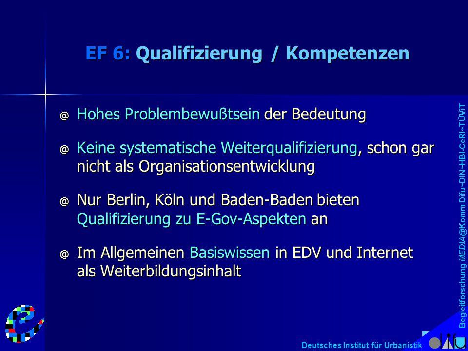 Begleitforschung MEDIA@Komm Difu~DIN~HBI-CeRI~TÜViT Deutsches Institut für Urbanistik EF 6: Qualifizierung / Kompetenzen @ Hohes Problembewußtsein der
