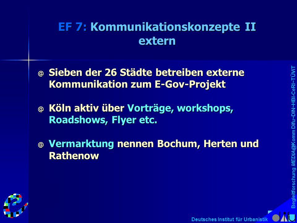 Begleitforschung MEDIA@Komm Difu~DIN~HBI-CeRI~TÜViT Deutsches Institut für Urbanistik EF 7: Kommunikationskonzepte II extern @ Sieben der 26 Städte betreiben externe Kommunikation zum E-Gov-Projekt @ Köln aktiv über Vorträge, workshops, Roadshows, Flyer etc.