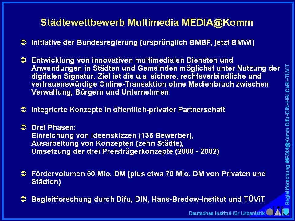 Begleitforschung MEDIA@Komm Difu~DIN~HBI-CeRI~TÜViT Deutsches Institut für Urbanistik EF 1.2: Verteilung der Städte auf die verschiedenen Vorgehensweisen beim E-Government Bottom-up Ex-post-Systematisierung Top- down (12 von 26 Fälle) (8 von 26 Fälle) (6 von 26 Fälle) www..de Stadtinformations- system (SIS) / Portal www..de Stadtinformations- system (SIS) / Portal Kommunikation und Transaktion in einzelnen Projekten Ex-post-Stadtstrategie & E-Gov't-Strategie Kommunikation und Transaktion in systematischen Schritten Ex-ante-Stadtstra- tegie & E-Gov't- Strategie Portal (SIS plus evtl.