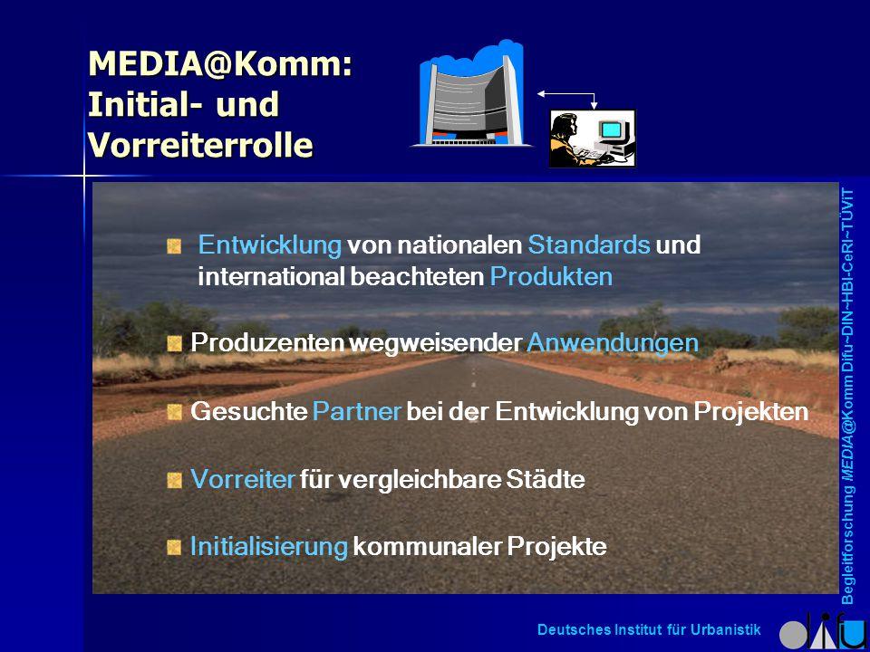MEDIA@Komm: Initial- und Vorreiterrolle Initialisierung kommunaler Projekte Entwicklung von nationalen Standards und international beachteten Produkte