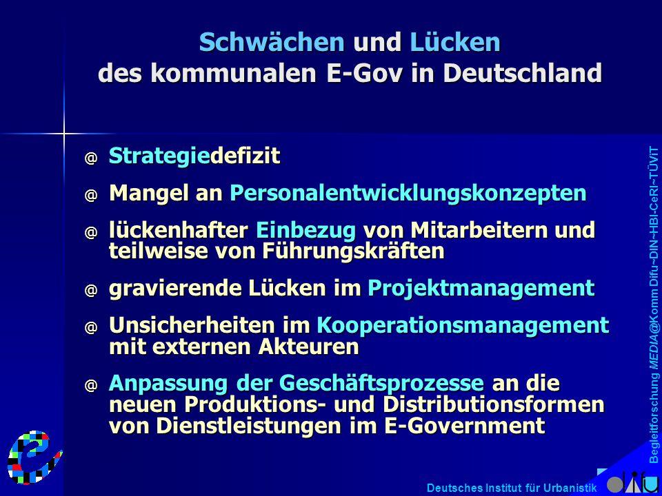 Begleitforschung MEDIA@Komm Difu~DIN~HBI-CeRI~TÜViT Deutsches Institut für Urbanistik Schwächen und Lücken des kommunalen E-Gov in Deutschland @ Strat