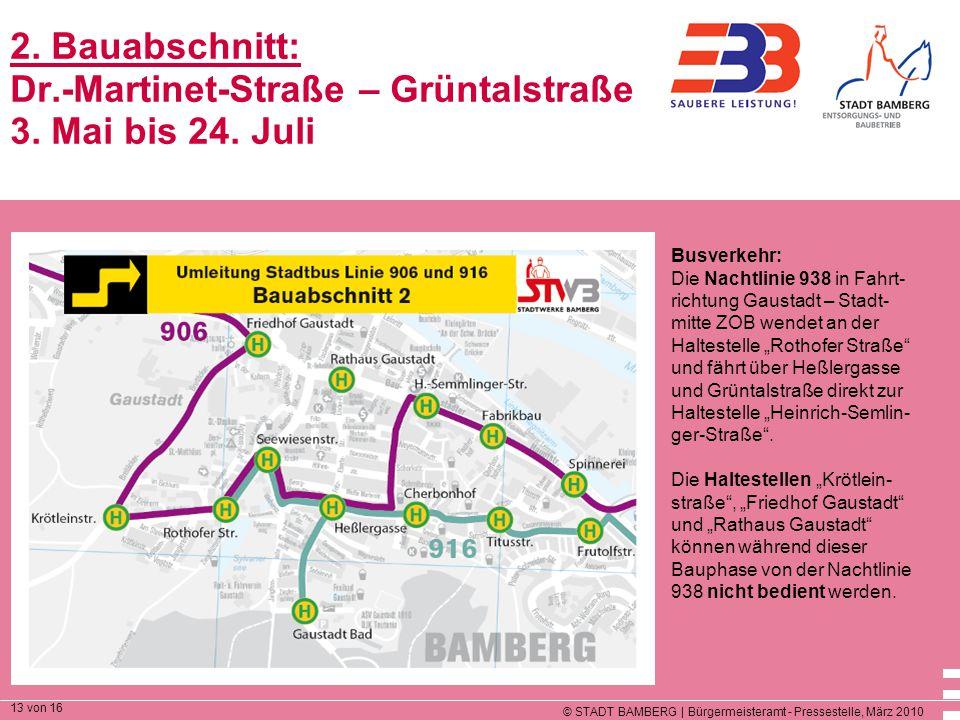 © STADT BAMBERG | Bürgermeisteramt - Pressestelle, März 2010 13 von 16 2. Bauabschnitt: Dr.-Martinet-Straße – Grüntalstraße 3. Mai bis 24. Juli Busver