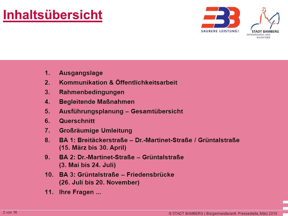 © STADT BAMBERG | Bürgermeisteramt - Pressestelle, März 2010 2 von 16 Inhaltsübersicht 1.Ausgangslage 2.Kommunikation & Öffentlichkeitsarbeit 3.Rahmenbedingungen 4.Begleitende Maßnahmen 5.Ausführungsplanung – Gesamtübersicht 6.Querschnitt 7.Großräumige Umleitung 8.BA 1: Breitäckerstraße – Dr.-Martinet-Straße / Grüntalstraße (15.