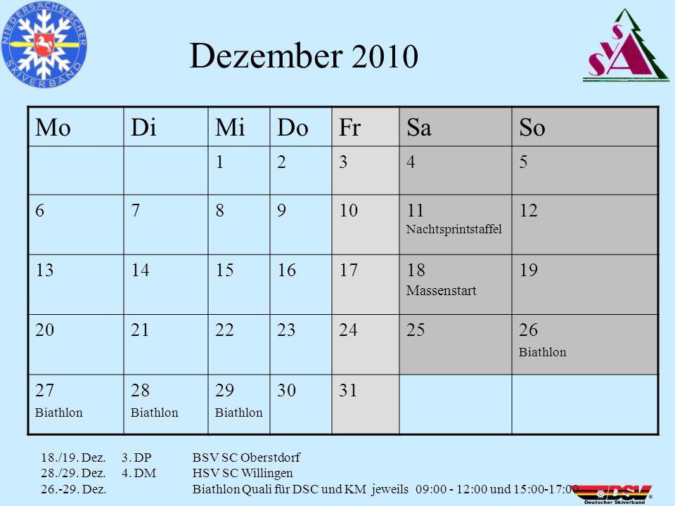 MoDiMiDoFrSaSo 12345 67891011 Nachtsprintstaffel 12 131415161718 Massenstart 19 20212223242526 Biathlon 27 Biathlon 28 Biathlon 29 Biathlon 3031 Dezember 2010 18./19.