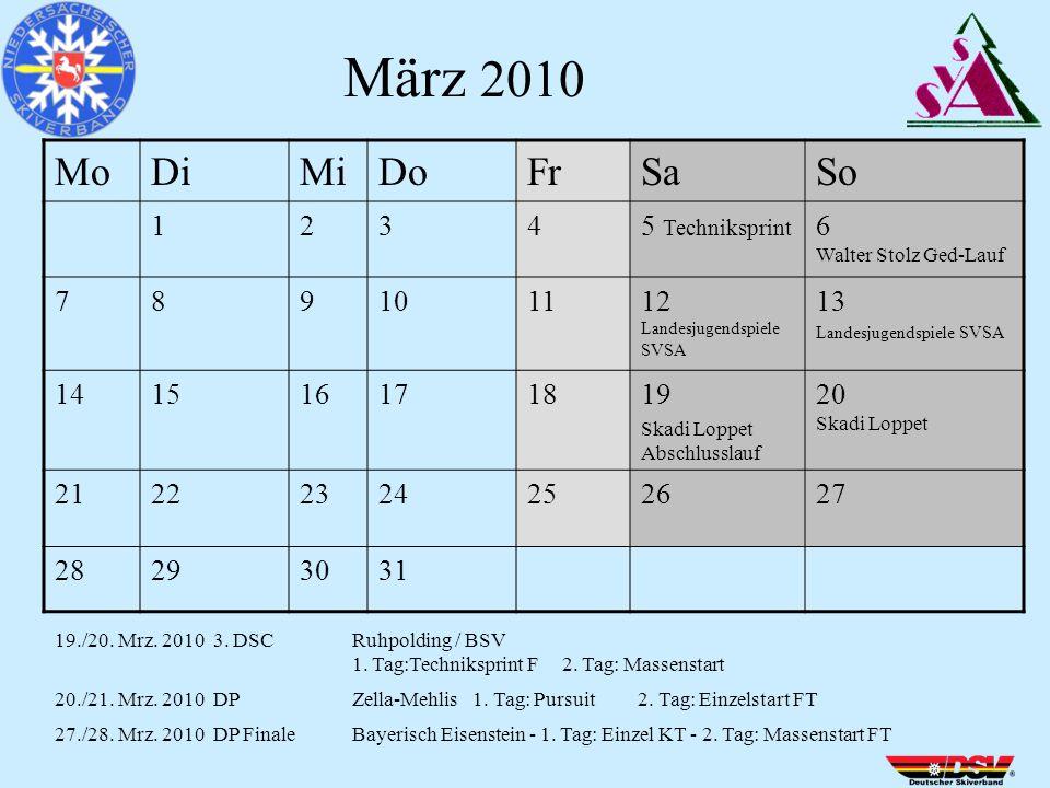 MoDiMiDoFrSaSo 12345 Techniksprint 6 Walter Stolz Ged-Lauf 789101112 Landesjugendspiele SVSA 13 Landesjugendspiele SVSA 141516171819 Skadi Loppet Abschlusslauf 20 Skadi Loppet 21222324252627 28293031 März 2010 19./20.