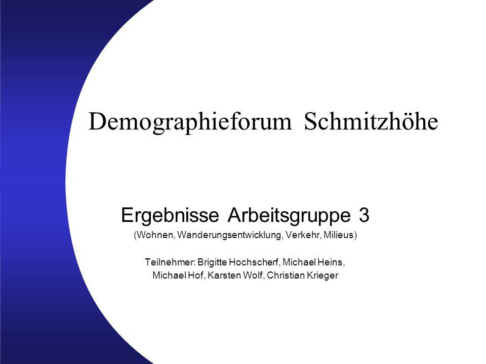 Demographieforum Schmitzhöhe Ergebnisse Arbeitsgruppe 3 (Wohnen, Wanderungsentwicklung, Verkehr, Milieus) Teilnehmer: Brigitte Hochscherf, Michael Hei